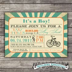 DIY Printable tricycle baby shower invitation--customizablevia Etsy.