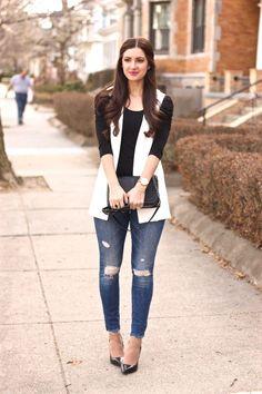 Styling a Sleeveless Blazer fall coats for women Sleeveless Blazer Outfit, White Vest Outfit, Sleeveless Coat, Blazer Outfits, Look Blazer, Ärmelloser Mantel, Mode Mantel, Look Fashion, Fashionable Outfits