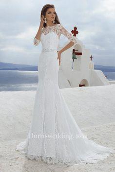 Dorris Wedding - Neck 3-4 Length Sleeve Sheath Lace Wedding Dress With Beading