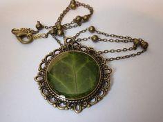 Ivy+leaf+pendant+antique+bronze+herbarium+necklace+by+ZazieWorld,+$25.00