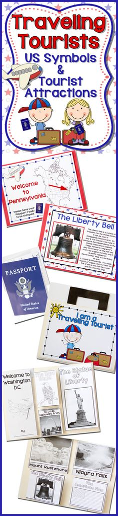 Let's get ready to learn about US Symbols and Tourist Attractions as The Traveling Tourists!  This interactive unit is Jam-Packed with USA goodness! US Symbols, Tourist Attractions, Student Passports, Information, and a suitcase filled with Flip-Flap Books! Don't forget to check out the preview!!! $