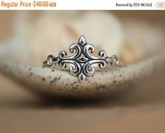ON SALE Fleur de Lis Ring - Tribal Statement Ring in Sterling - Medieval Style Scroll Ring - Stylized French Lily Ring in Silver - Fleur de