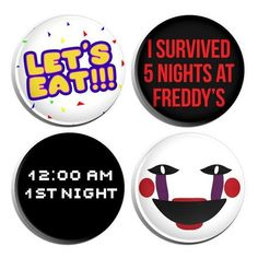 """Five Nights At Freddy's 1.25"""" Pin-back Buttons 4 Pack ❤ liked on Polyvore featuring intimates, sleepwear, nightgowns and freddy"""