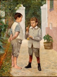 Meninos jogando bilboquê,  sd Belmiro de Almeida ( Brasil, 1858-1935) óleo sobre tela, 40x30cm Museu de Arte de São Paulo