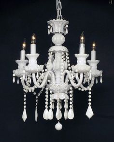 "Snow White Crystal Chandelier Lighting H30"" X W24"" - G46-WHITE/3/490/5"