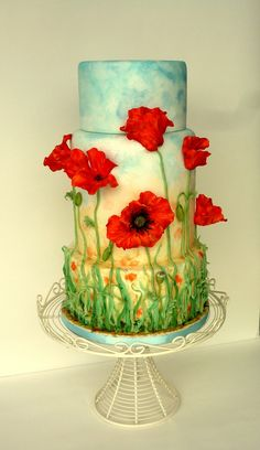 Poppy Field Wedding Cake - One year ago I made grass decorated cake (Sky is the limit - in my pictures) and planned to do a series of similar wedding cakes from then, inspired by different types of flowers like lavender, peony, poppy, then sea-side, one of the famous castles in Bretagne and many more. Unfortunately didn't have time till now. It was also inspired by a gorgeous Blue Poppy cake by Fondant Flinger which is one of my most favorite cakes ever and by a sad story of Elcee that I've…