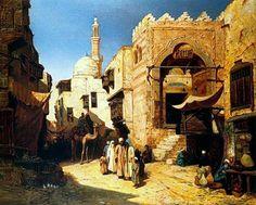 Cairo street scene By John Varley Jnr. (British, 1850-1933)