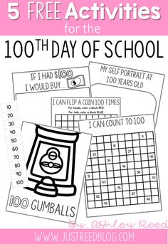 Here are five Day of School activities sure to get your students thinking, learning, and having fun on the day of school. These day of school printables are FREE! 100th Day Of School Crafts, 100 Day Of School Project, 100 Days Of School, School Holidays, First Day Of School, School Projects, February Holidays, School Stuff, January