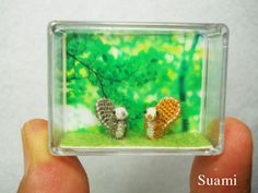 """This lady's work is incredible. She sells these mini-miniatures on etsy. I would love to see a video of her making some of these items.   """"Welcome to the tiny world. ~ Here is a pair of super tiny squirrels. ~ The little squirrels are crocheted with single embroidery threads, micro sewn plastic eyes cored.     Size: Aprox.6mm height, 3mm body diameter, 8mm tail long. ~Perfect for any DOLLHOUSE or MINIATURE of your minis micro animal collection. Intended for adult collectors only."""""""