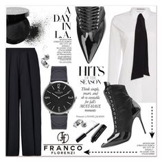 """# II/5 Francoflorenzi"" by lucky-1990 ❤ liked on Polyvore featuring Iris & Ink, Acne Studios, Bobbi Brown Cosmetics, Giuseppe Zanotti, VIcenza and francoflorenzi"