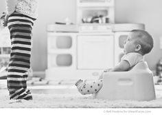 looking up at sibling