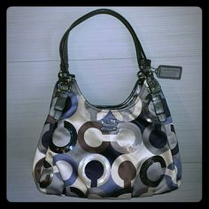 "Coach Bag Madison Graphic Op Art Maggie Bag Purse Authentic! Beautiful sequin accents! Coach Madison bag, shades of blue, beige, taupe, silver & grey.  Inside is like new comes with dust bag.  Dimensions are 13""(W) x 12""(H) x 5""(D) with 10"" drop.  Has 3 main compartments, center compartment with zip-top closure & two side compartments with magnetic snap closure & also has wall zipper pocket cellphone/multifunction pockets.  EUC!  Please no low ball offers Coach Bags"