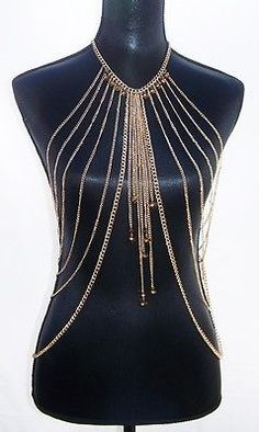 Gold Body Jewelry Chain Necklace with Beads