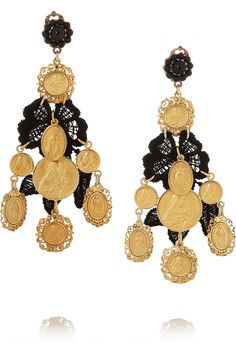 Dolce & Gabbana | + V&A gold-plated, resin and macramé lace clip earrings - Tuba TANIK