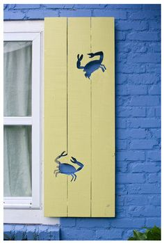 Custom Cottage Shutter Crabs Motif by janecoslick on Etsy