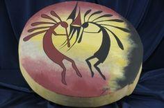 Native American Tarahumara Kokopelli Hand Painted Ceremonial Drum