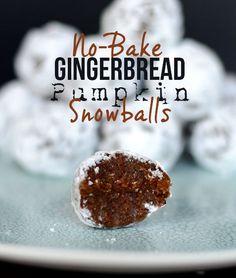 No-Bake Gingerbread Pumpkin Snowballs #glutenfree #vegan #desserts