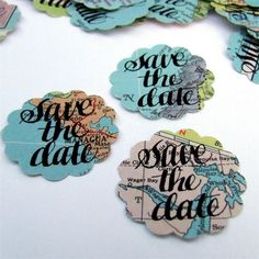 Save the Date Map Stickers, hand lettered vintage atlas stickers, eco friendly weddings, hand calligraphy by KisforCalligraphy