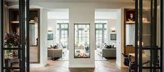 Elements of a Modern Beach Home Home And Living, Living Room, Villa, Oversized Mirror, Beach House, Windows, Interior Design, Modern, Furniture