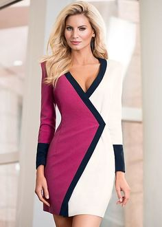 Color block coat dress from VENUS women's swimwear and sexy clothing. Order Color block coat dress for women from the online catalog or Elegant Dresses, Sexy Dresses, Beautiful Dresses, Casual Dresses, Short Dresses, Fashion Dresses, Sweater Dresses, Patchwork Dress, Colorblock Dress