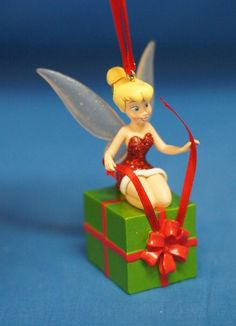 Santa Tinker Bell Wrapping a Gift Christmas Ornament Disney Store 2010 Peter Pan #DisneyStore