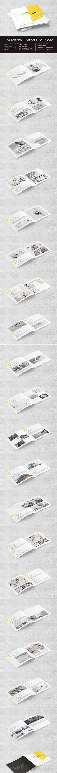 Clean Square Portfolio Portfolio Brochure Template by wpservicios. Stationery Printing, Stationery Design, Brochure Design, Brochure Template, Print Design, Graphic Design, Print Templates, Cleaning, Brochures