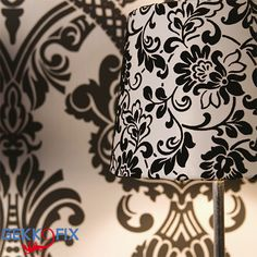 Give your lampshade a new look with our Heritage black white. Get Inspired & Get Creative! self adhesive foil #DIY #blackandwhite