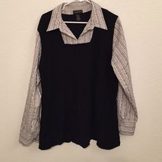 Lane Bryant Top Nice top. One piece collared shirt with sweater vest look. Ribbing at bust line is very flattering. Lane Bryant Tops Blouses