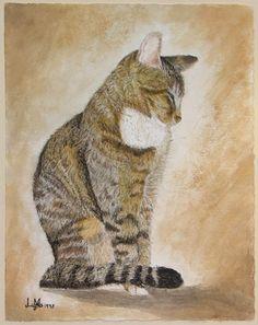 Latte Kitty in dry brush watercolor by Lara Hannam