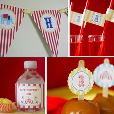 Circus Carnival Birthday Party - PRINTABLE ONLY - Banner, Toppers, Tags, Invitation and more. $25.00, via Etsy.