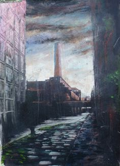 Exhibition - STREET TALK - The Mancunian Way - July 2013.  Tim Garner - Castlefield Series - Canal Chimney - £1100.  Painting those disappearing back streets with towering Victorian architecture and mossy cobbles.  http://www.artzu.co.uk/artist/tim-garner/castlefield-series-canal-chimney/