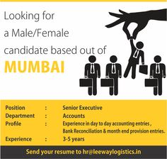 We are hiring! Looking for a candidate with 3-5 years of experience, based out of Mumbai for our accounts department.   Send your resume to hr@leewaylogistics.in