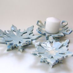 baby blue ceramic snowflake hostess gift dish set of 3 candle holders, spoon rest, soap dish by maryjudy on Etsy