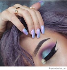 colorful-glitter-long-nails-and-eye-makeup-love-the-hair-color-too