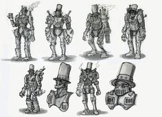 Robot Sketch, Steampunk Kunst, Character Design References, Dieselpunk, Cyberpunk, My Drawings, Inventions, Creatures, Sketches