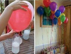 No helium needed to fill balloons. just vinegar and baking soda! No helium needed to fill balloons for parties.just vinegar and baking soda! I NEED TO REMEMBER THIS! this is important since helium is not a renewable source and is in such short supply Blowing Up Balloons, Helium Balloons, Helium Gas, Flying Balloon, The Balloon, Floating Balloons, O Gas, Diy Projects To Try, Party Time