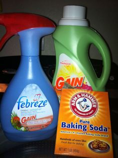 All you need is an empty spray bottle, baking soda, hot water and your favorite fabric softener. Take 1/8 cup fabric softener (I love Gain Island Fresh), 2 tablespoons of baking soda and then fill the rest with warm/hot water from the tap. Shake that up and you have your own homemade febreeze!