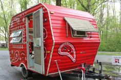"Red-Bandana Camper | 1978 Fleetwing Trailer | Painted vintage caravan ""Hanky""  
