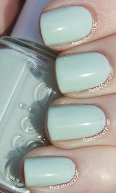Absolutely Shore, Essie - light sea foam green nail polish/lacquer