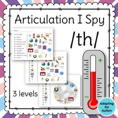 This no prep packet includes three levels of /th/ I Spy games for a unique way to focus on articulation goals. Have fun searching for the pictures while practicing the /th/ sound in the initial, medial and final positions.Perfect for warm-ups, icebreakers, homework, group lessons, last minute planning and carryover.Three levels:1) for students who can read the items they need to find2) for students who can match identical pictures and need a visual key3) for students who can match identical…