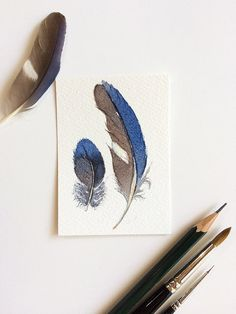 Blue feathers - original ACEO (artist trading card) - miniature watercolour painting by Zoya Makarova