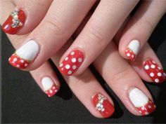 Nail design. I like that there are three! And I love polka dots and bows. So, winning!
