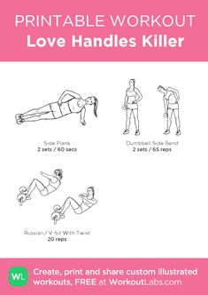 Love Handles Killer: my visual workout created at Free Weight Workout, Six Pack Abs Workout, Best Ab Workout, Abs Workout Routines, Workout Schedule, Workout Calendar, Lifting Workouts, Waist Workout, Yoga Workouts