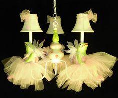 Nursery Lighting - Ballerina Frog Chandelier - Girls Room Chandelier My Mother would get a big kick Kids Chandelier, Nursery Chandelier, Nursery Lighting, Chandeliers, Frog Nursery, Nursery Decor, Nursery Ideas, Art Nouveau, Frog Theme
