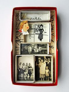 mano's world: art boxes 290 - 296 Shadow Box Kunst, Shadow Box Art, Shadow Box Memory, Altered Tins, Altered Art, Paper Art, Paper Crafts, Diy Crafts, Matchbox Art