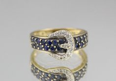 Vintage 18k Gold Sapphire & Diamond Belt Buckle Ring