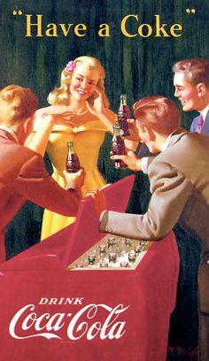 Have a Coke | Coka-Cola #Vintage #Retro #Glamour #Illustration #Coke #Cola-Cola #Blonde #Dress #Hair #Makeup #Ice #Box #Bottle #Suits #Ad #Advertisement