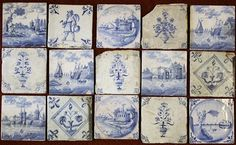 Fifteen Dutch and English Delft tiles 18th / 19th century, including a Bris