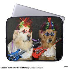Golden Retriever Rock Stars Laptop Computer Sleeves