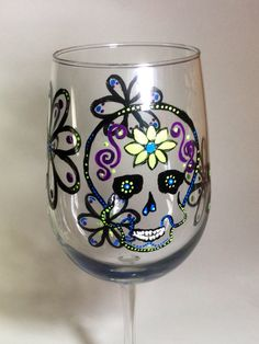 Sugar Skull Hand Painted Wine Glass 18.5 oz by MelissaWynneDesigns, $23.50